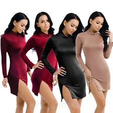Lady Womens Polo Neck Long Sleeve Slit Bodycon Evening Party Cocktail Mini Dress