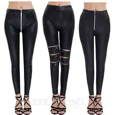 Womens Faux Leather Black Stretchy Leggings Zipper Slim Jeggings Pants Trousers