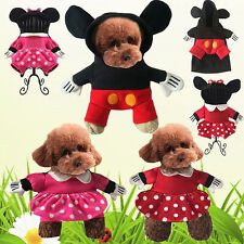 Mickey Minnie Mouse Costume Small Pet Dog Cat Hooded Clothes Xmas Fancy Dress