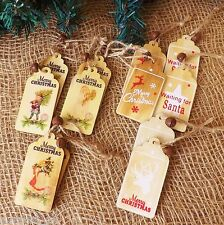 Set 6 Wooden Gift Tags Christmas Tree Decorations Nostalgic Victorian or Stag