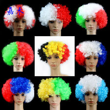Party Disco Rainbow Afro Clown Hair Football Fan Adult Child Costume Wig
