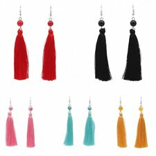 Boho Agate Dangle Ear Earrings Hook Women Long Tassel Fringe Party Jewelry Gift