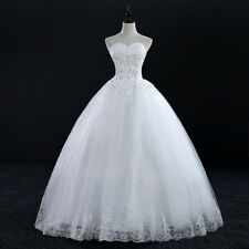 Charming Ball Gown White/Ivory Sequin Applique Tulle Wedding Bridal Dresses New
