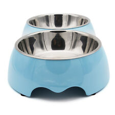 Stainless Steel Dog Bowl Non Slip Double Food Water Puppy Pet Bowls Dish Feeder