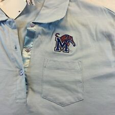 Mens Memphis Tigers NCAA Polo Baby Blue By District Threads NWT