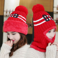 Winter Girls Beanie Warm Knitted Pom Pom Hat Full Face Neck Loop Cap Multi Color