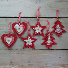 Pair Christmas Tree Decorations Red Felt Fabric Heart Trees or Stars Bells Set 2
