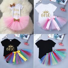 Baby Girl 1st First Birthday Dress Romper One Year Crown Tutu Skirt Cake Outfits