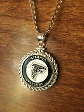 STERLING SILVER ROPE PENDANT W/ NFL ATLANTA FALCONS b SETTING JEWELRY GIFT