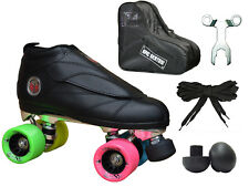 New Epic Skates Black Evolution Rainbow Quad Roller Jam Speed Skate & Bag Bundle