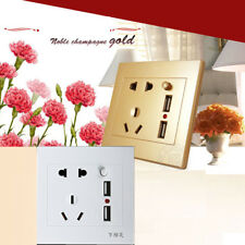AC/DC Home Power Adapter Plug in Outlet Plate Panel Dual USB Wall Socket Charger
