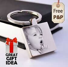 Personalised Square Steel Keyring Photo Engraved, a great gift for Father's day