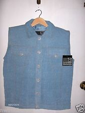 Men's Genuine Leather Vest with Denim Look Small to 4XL New DL322-15*