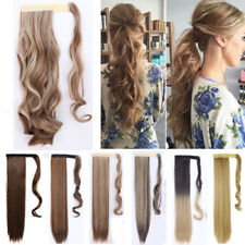 US Clip In Ponytail Hair extensions Curly Straight Wavy Clip Wrap Pony Tail AH5
