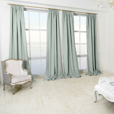 Made To Measure CURTAINS Service 100% Linen Duck Egg Blue Lined INTERLINED Huge