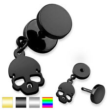 Unisex Earring Fake Plug Made of Surgical Steel Stainless Steel 316L Skull