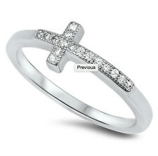 925 Sterling Silver Clear CZ Side Way Cross Ring