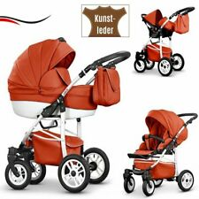3IN1 PRAM  ECO LEATHER PUSHCHAIR + CAR SEAT - 21 COLOURS + FREE ACCESSORIES