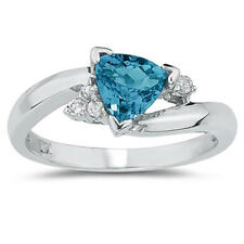 3/4 Carat Trillion Cut Blue Topaz and Diamond Ring in 14K White Gold