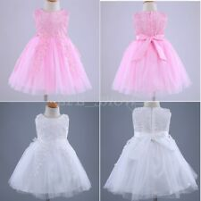 Kids Flower Girl Dress Baby Sleeveless Embroidered Applique Wedding Birthday New