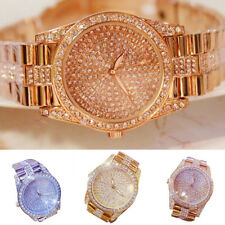 Fashion Rhinestone Lady Stainless Steel Band Analog Quartz Wrist Watch Utility