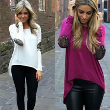 Round Neck Fashion Womens Casual Blouse Loose Tops Long Sleeve Shirt