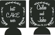 Best Cake Ever Wedding koozies no minimums personalized can cooler quick ship
