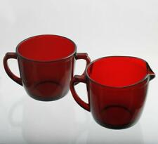 Anchor Hocking Royal Ruby Glass Creamer and Sugar Bowl Red Vintage Mid Century