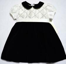 CARRIAGE BOUTIQUES BLACK VELVET & SATIN HOLIDAY DRESS W/PEARLS~6M,9M~NWT'S