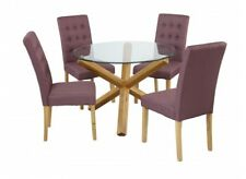 New Oporto Solid Oak & Glass Round Medium 107CM Dining Table + Roma Chairs