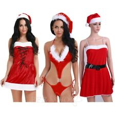 Women Sexy Christmas Red Fur Hood Costume Outfit Xmas Santa Fancy Mini Dress Set