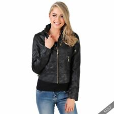 Womens Casual PU Leather Biker Jacket Zipper Cropped Coat Bomber Deatchable Hood