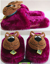 NEW Warner Bros. Scooby Doo Great Dane Dog Purple Adult plush OPEN Slippers L-XL