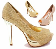 WOMENS LADIES GLITTER PROM PLATFORM PEEP TOE HIGH HEEL PARTY COURT SHOES SIZE
