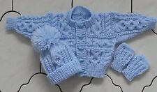 ORDER 0-3 3-6 6-12 months1-2 3-4 years Hand Knitted Baby Aran Cardigan Hat Mitts