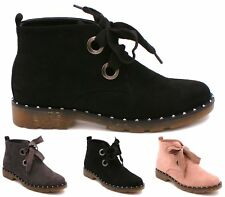 Womens Ladies Black Faux Suede Lace-Up Comfy Casual Ankle Desert Boots Shoes 3-8