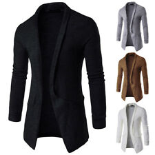 Fashion  Men's Casual Slim Fit Long Sleeve Knitted Cardigan Pocket Trench Coat