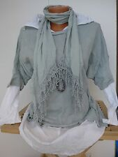 Joe Browns Blouse Shirt Size 38/40 - 42/44 White Grey 2 Piece with Scarf (881)
