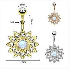 Stylish Crystal Rhinestone Belly Button Ring Petal Gem Belly Button Ring Jewelry