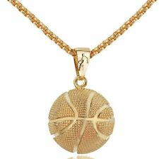 Women Men Silve/Gold Stainless Steel Basketball Pendant Necklace Jewelry Gift