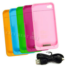 LOT 1900mAh External Backup Power Battery Charger Case 5 Color For iPhone 4 4S
