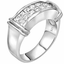 Unisex Sterling Silver .925 Ring Cubic Zirconia Stones, Platinum Plated Jewelry.