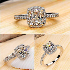 UK Women Lady Jewelry White Sapphire 925 Silver Filled Wedding Ring