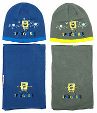 Boys Spongebob Squarepants Beanie Hat Scarf Set 3 to 12 Years CLEARANCE SALE