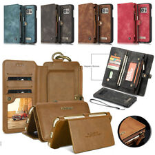 Genuine Leather Purse Wallet Case Magnetic Removable Cover for iPhone & Samsung