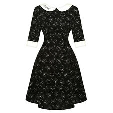 Hell Bunny Matou Black Cat Rockabilly 1950s Retro Vintage Flared Mini Dress