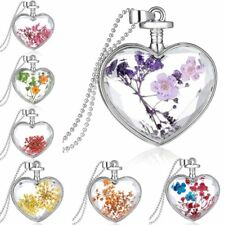 Charm Silver Natural Real Dried Flower Heart Glass Pendant Necklace Jewelry Hot