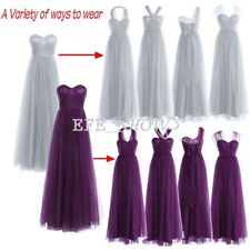 Women's Long Mesh Prom Evening Party Cocktail Bridesmaid Wedding Ball Gown Dress