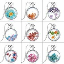 Fashion Heart Natural Real Dried Flower Circle Glass Pendant Necklace Jewelry