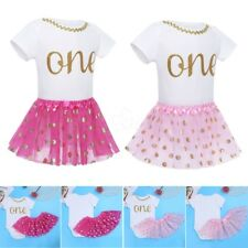 GIRLS BABY 1ST FIRST BIRTHDAY ROMPER TUTU SKIRT DRESS OUTFIT ONE YEAR PARTY SET
